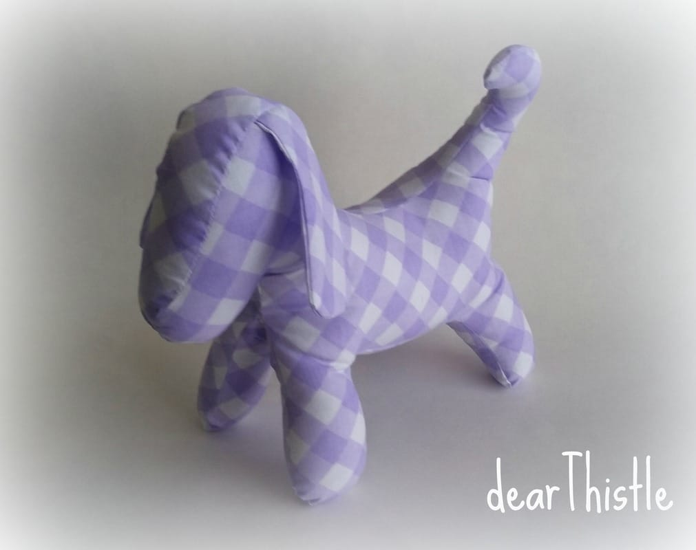 dearThistle - purple gingham vintage sheet puppy