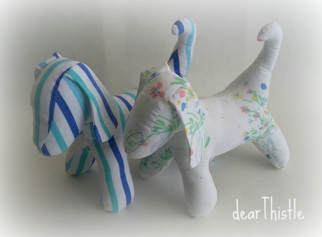 dearThistle - vintage sheet puppies - striped blue and his friend in white